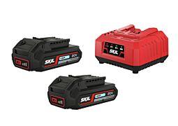 """SKIL Batterier (""""20V Max"""" (18 V) 2,0 Ah """"Keep Cool™"""" litiumjon) och laddare"""