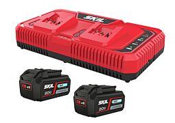 """SKIL Batterier (""""20V Max"""" (18V) 4,0Ah """"Keep Cool™"""" litium-jon) och dubbel """"Rapid""""-laddare"""